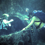 Divers Danny White and Ann Slater explore the Mitzpah 1983.jpg