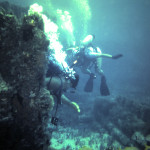 Divers expolre the wreckage of the Mitzpah 1983