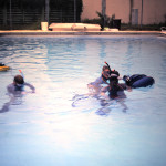 Patty teaches a Blue Water pool class in 1984